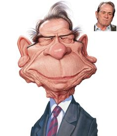 Tommy Lee Jones caricature - 25 Beautiful Celebrity Caricatures by Indian Artist Mahesh Nambiar