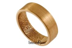 Brent & Jess LLC Jewelry - Gold wedding band with fingerprint inside