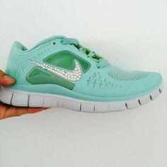 best service c0dea 96c35 Silver Bling Nike Free Run 3 Womens Swarovski Tiffany Blue Adidas Running  Shoes, Cheap Running