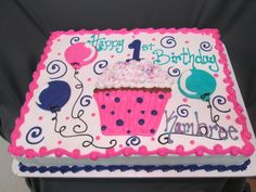 Cupcake and Balloon First Birthday Sheet Cake @sugarshackscia