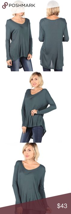 Lightweight Scoop Neck Long Sleeve High Low Top S Super soft, lightweight, and easy to wear, this high low top is perfect with leggings or skinnies. Gorgeous slate green.   100% rayon Made in the USA   ❌ Sorry, no trades. fairlygirly Tops Tees - Long Sleeve