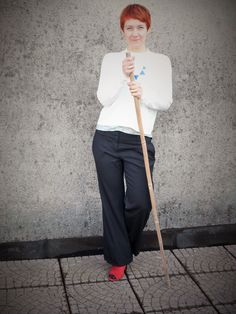 Wideleg pants, short white ribbed sweater, layered flower top, triangle necklace, red shoes, red hair / Slouchy Pinstripes That You Don't See   Funky Jungle, fashion and personal style blog