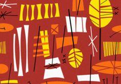 Funky Retro Tiki Hawaiian Red Orange Yellow by DigitaIDecades