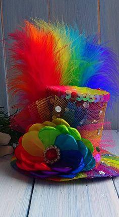 Mini Top Hat Headband Rainbow Mini Top Hat Mad Hatter Hat Tea Party Hat Alice in Wonderland Top Hat Fascinator Rainbow Mini Hat Baby Shower Crazy Hat Day, Crazy Hats, Mad Tea Parties, Tea Party Hats, Mad Hatter Hats, Mad Hatters, Fascinator, Headpiece, Alice In Wonderland Party