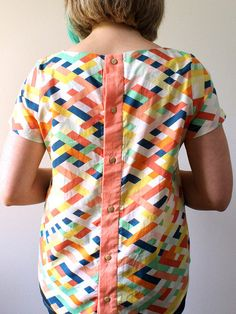 Beatrix Sewing Pattern PDF - a woven blouse with a buttoned back