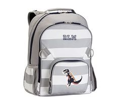 Fairfax Gray/White Stripe Large Backpack, Dino