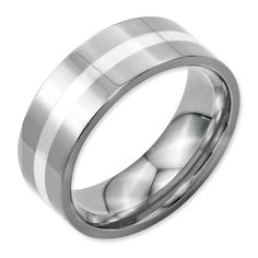 Chisel Stainless Steel Sterling Silver Inlay 8mm Polished Band