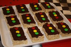 traffic light rice krispie treats for Cars theme birthday party