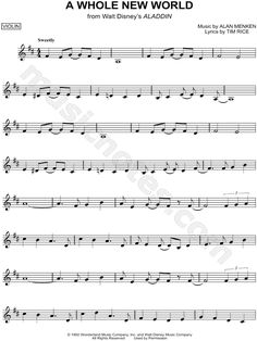 """A Whole New World"" from 'Aladdin' Sheet Music (Violin Solo) Más Trumpet Sheet Music, Saxophone Sheet Music, Cello Music, Piano Sheet Music, Music Sheets, Bass Clarinet, Disney Sheet Music, Digital Sheet Music, Aladdin"