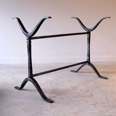 "Wrought Iron wishbone trestle table base. Built to suit, custom sizes available.  32""h x 43""l x 23""d"