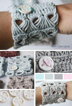 Klein Zoet Geluk: Gehaakte armband met bezemsteel steek