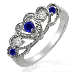 Kay - Lab-Created Sapphire Heart Ring Sterling Silver