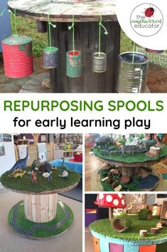 Repurpose wooden spools and cable reels for play! Upcycle old spools to turn them into outdoor play resources for early learning Wire Spool, Wooden Spools, Activities For Kids, Crafts For Kids, Childcare Activities, Nursery Activities, Preschool Activities, Outdoor Play, Indoor Outdoor