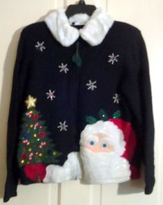 Tiara International Christmas Collection Zippered Black Beaded Santa & Christmas Tree Cardigan With White Faux Fur Detachable Collar Size M by AntiquesandStuff56 on Etsy