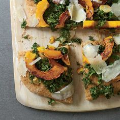 Paul Kahan tops spelt focaccia with tangy marinated kale, sweet winter squash and nutty, salty pecorino cheese.