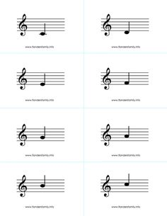 Musical Note Flashcards for beginning piano students {free printable from www.flandersfamily.info}