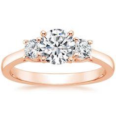 14K Rose Gold Petite Three Stone Trellis Ring (1/3 ct. tw. setting) from Brilliant Earth #wedding #mybigday