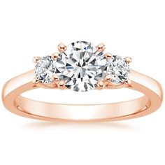 14K Rose Gold Petite Three Stone Trellis Ring (1/3 ct. tw. setting) from Brilliant Earth #wedding #mybigday