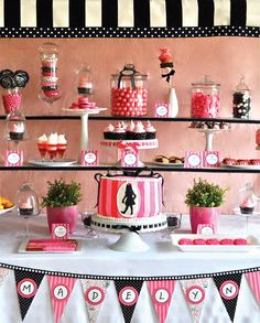 Pink and Black Dessert Table for Eloise Birthday Party