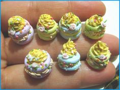 Polymer clay mini party cake beads by DownToEarth2007, via Flickr