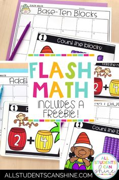 This teacher blog post about flash math activities includes a fun first grade math freebie that can also be used in kindergarten and second grade math classrooms. #mathactivities #firstgrademath #kindergartenmath #mathfreebie #secondgrademath Math 2, Kindergarten Math, Math Games, Math Activities, Teacher Blogs, My Teacher, Base Ten Blocks, Second Grade Math, Writing Resources