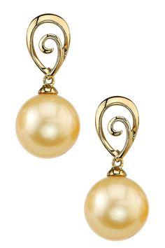 14K Yellow Gold 9mm Golden South Sea Pearl & Swirl Teardrop Earrings on HauteLook
