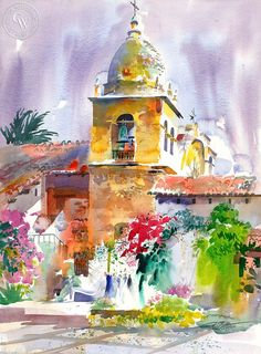 Ken Potter - Carmel Mission, 1999, California art, original California watercolor art for sale, fine art print for sale, giclee watercolor print - CaliforniaWatercolor.com