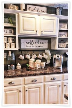 DIY Coffee Bar Ideas - Breathtaking drink stations in country style for small .DIY Coffee Bar Ideas - Breathtaking drink stations in country style for small rooms and small kitchens Kitchen Organization and Storage Coffee Bar Design, Coffee Bar Home, Home Coffee Stations, Coffee Bar Ideas, Coffee Nook, Kitchen Coffee Bars, Wine And Coffee Bar, Coffee Time, Coffee Kitchen Decor