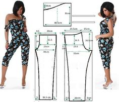 Jumpsuits pattern - illustration gives amounts, but I don't see what size this… Sewing Patterns Free, Sewing Tutorials, Clothing Patterns, Dress Patterns, Jumpsuit Pattern, Pants Pattern, Sewing Pants, Sewing Clothes, Diy Fashion