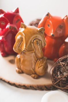 Ceramic Fox Trio Earthbound Trading $20 So so cute and I love the colors!