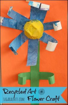 Recycled Artwork Spring Flower Craft - The OT Toolbox Preschool Art Projects, Daycare Crafts, Fun Crafts, Craft Projects, Arts And Crafts, Easter Crafts, Recycled Art Projects, Recycled Crafts, Recycled Materials