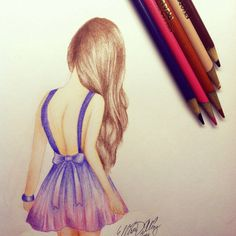 drawing of a girl in a dress tumblr - Google Search