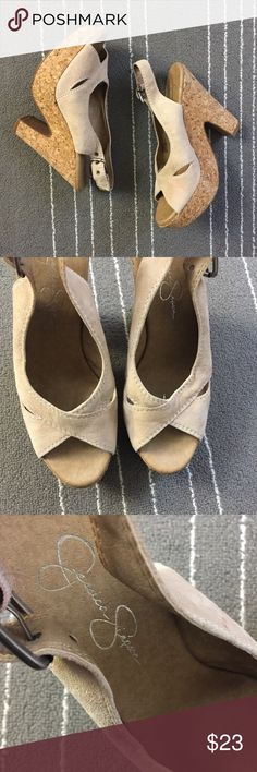 """Jessica Simpson tan leather upper back strap shoes Jessica Simpson tan leather upper back strap shoes. In great condition. Size is 7.5. Real leather upper. About 4"""" platform heel. Adjustable straps. Ask if have any question. Jessica Simpson Shoes"""