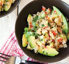 Quinoa red pepper and cucumber salad with avocado!  Try using 1/3 of the oil it called for, and it was 2 cups of quinoa.