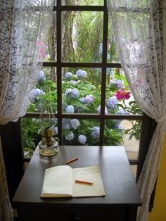 Country Cottage Style | Writing desk by the window, lace curtains, hydrangeas