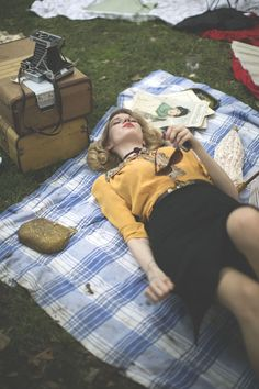 drifter and the gypsy, picnic, style, fashion, vintage, mustard, summer, outfit, old camera, suitcase, red lips, high waisted skirt, blouse
