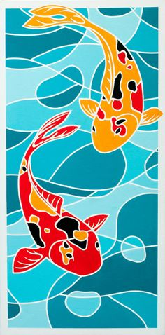 "Pair of Koi Fish"" Fine Art Painting Print of 100 -- Bold Color & Modern Abstract - Stained Glass style by ArtworksofRobCropper, $25.00"
