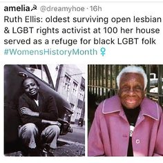 Rest in power Ruth ✊ Via Be My Hero, Faith In Humanity Restored, Intersectional Feminism, Ruth Ellis, Badass Women, Equal Rights, Women In History, Social Issues, History Facts