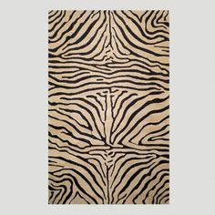 Zebra Tufted Wool Area Rug - v1