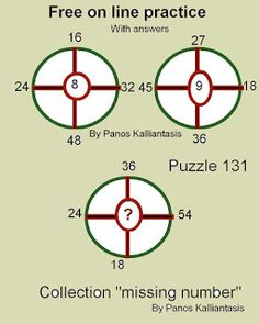 """Brain teasers and puzzles: Collection """"missing number"""" Puzzle 131 Missing Number, Number Puzzles, Brain Teasers, Numbers, This Or That Questions, Collection, Mind Games, Numeracy"""