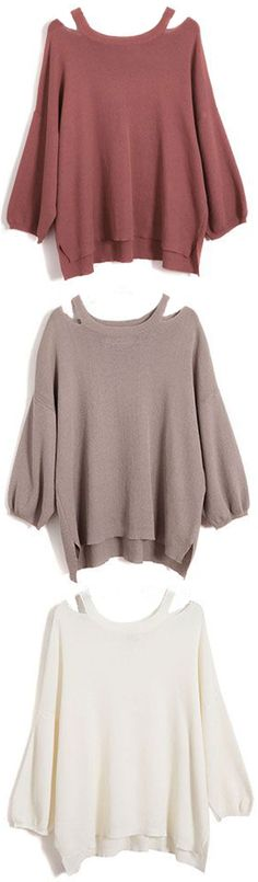 Get this flattering one with Only 7 Days shipping! This round neck casual sweater is detailed with high low bottom, puff sleeve&hollow at shoulder. Take it at Cupshe.com .