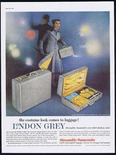 1956 Samsonite London Grey Steamlite Luggage Vintage Photo Print Ad