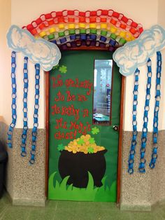 St. Patricks classroom door We are lucky to be in this class rainbow classroom door