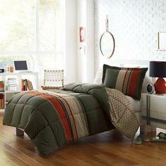 Olive Green, Khaki & Orange Boys Striped Twin Comforter & Sham, 2 Piece Bedding