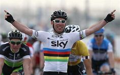 Mark Cavendish's first win in the rainbow jersey and for Sky. Tour of Qatar.
