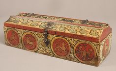 Painted Box for Game Pieces. Date: ca. 1300 Geography: Made in Upper Rhine region, Germany Culture: German Medium: Wood, polychromy and metal mounts