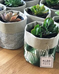 Crafts Pots Adorable handmade plant pots by Plant Bags, Plant Basket, Plant Covers, Ideias Diy, Fabric Bins, Diy Couture, Interior Plants, Diy Crafts For Kids, Potted Plants