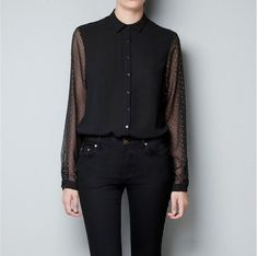 New fashion womens' OL elegant chiffon blouse gold color dot sleeve quality casual shirt slim brand designer tops