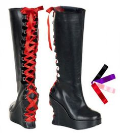 Check out this item on The Violet Vixen Laced Ribbon Wedge Boots - The Violet Vixen #thevioletvixen