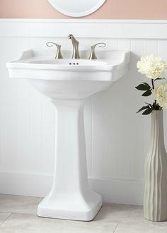 KOHLER Memoirs Stately Ceramic Pedestal Bathroom Sink Combo In White With  Overflow Drain | Pedestal Sink, Sinks And Powder Room